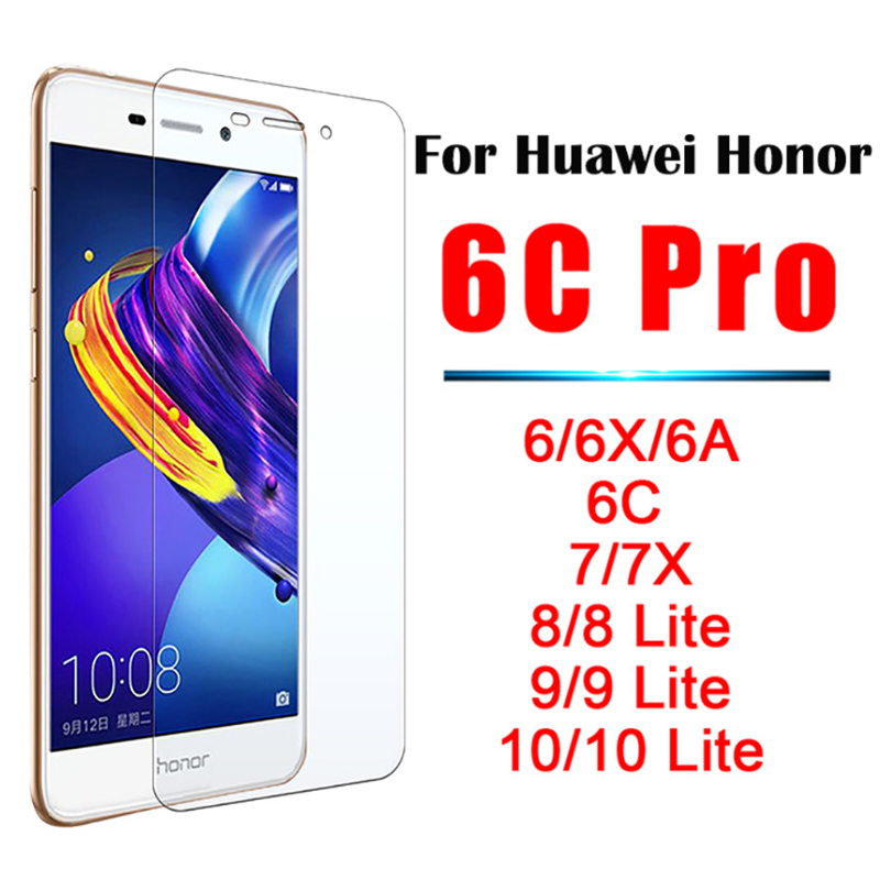 honor 10 glass view 7x 7 6 6a 6x 6c Pro 8 9 10 Lite Tempered Glas protective huawey on the x7 x6 c6 a6 6 7 X 8Lite 9Lite 10Lite(China)
