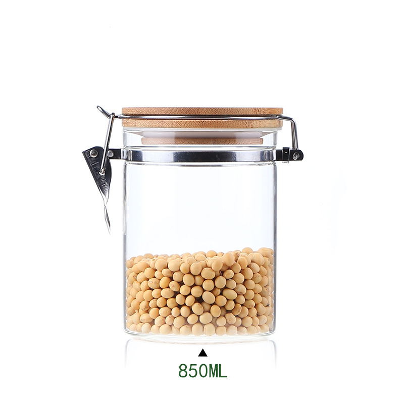 Five Sizes Glass Storage Tank With Wood Cover Spices Sugar Jar Container Kitchen Food Bottle Coffee Beans Tea Caddy 1pc