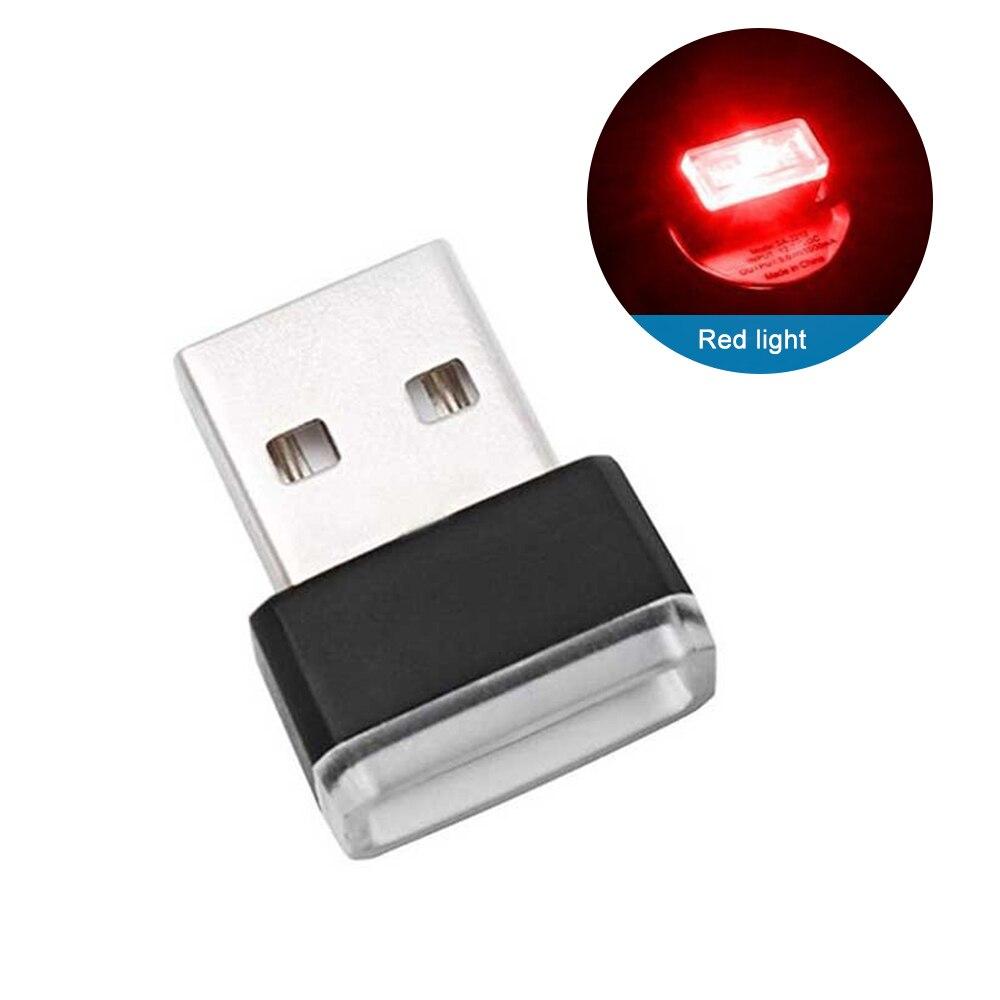 Мини USB светильник светодиодный модельный автомобильный окружающий светильник неоновый интерьерный светильник Автомобильные украшения(7 цветов на светильник - Испускаемый цвет: Красный