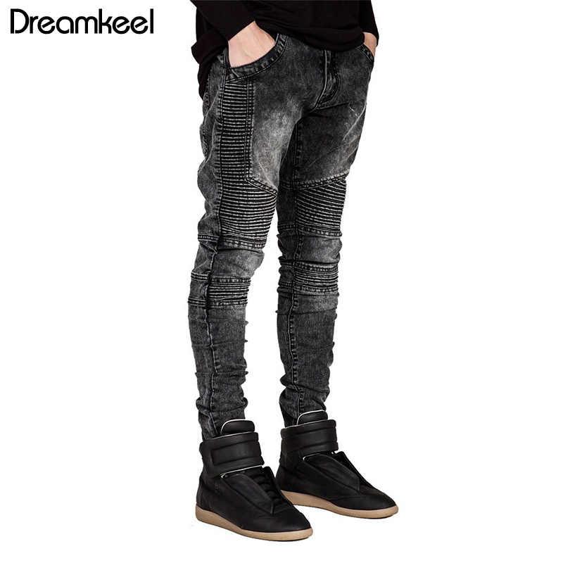 2019 חדש אופנה גברים של מסלול Slim ג 'ינס גברים ונשים טייס אופנוען אופנה Streetwear Hiphop סקיני לגברים ג' ינס מכנסיים Y