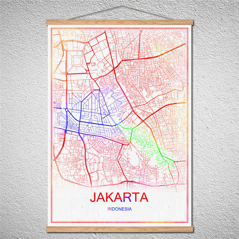 with frame world mapjakartaart wall sticker kraft poster vintage retro poster cafe bar pub decoration customized pattern in wall stickers from home