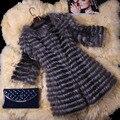 2016 abrigo de piel de zorro manga 3/4 otoño invierno genuino mujer la piel chaqueta prendas de abrigo Trench abrigo largo dama VK3006