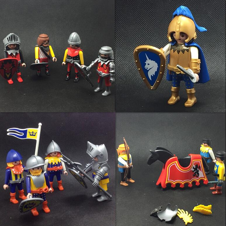 Original Playmobil Figures Set Pirates Knight Military Figuras Princess Mini Figure Boat Horse Scenery Landscape Model Statue
