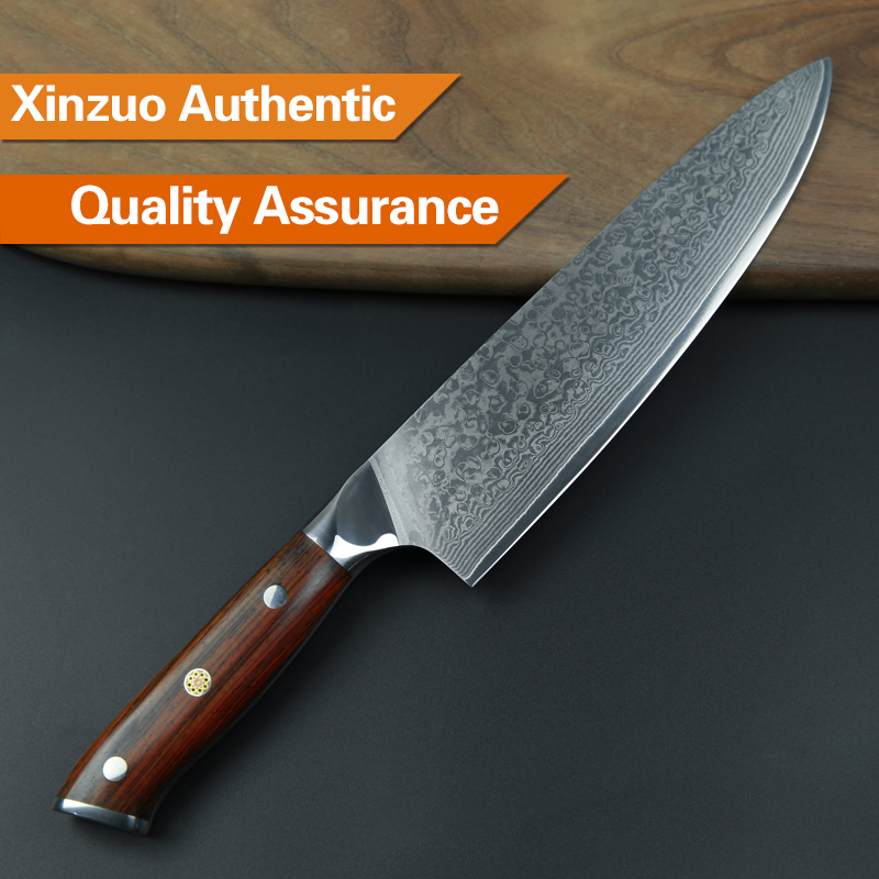 XINZUO 4 Pcs Kitchen Knife Set Damascus Steel Kitchen Knife Set Stainless Steel  Chef Utility Knife Rosewood Handle Free Shipping 32793402846