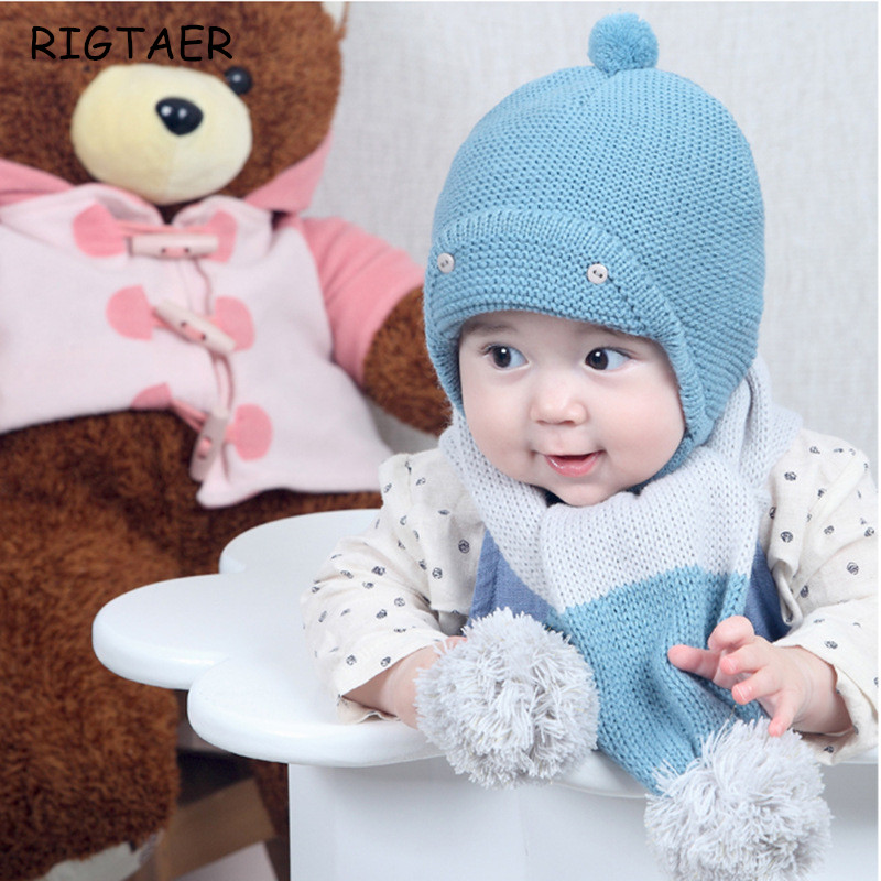 Baby boy and girl hats Autumn and winter children knitted hat scarves two sets of baby warm wool large ball baby scarf beanies