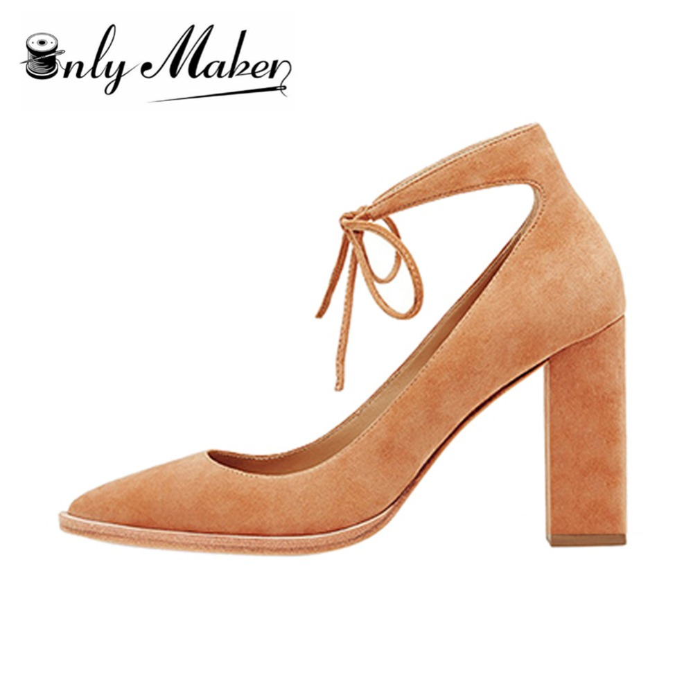 ФОТО Onlymaker 2017 New Womens Lace Up Shoes Chunky Heel High-heeled Ties Sandals Pumps Ladies Party Pointed Toe Shoes Big Size US15
