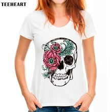 TEEHEART Fashion Women T-shirt Slower Suger Skull Punk T shirt  Spring Summer Tops For Female Clothing Hot Sale Q918