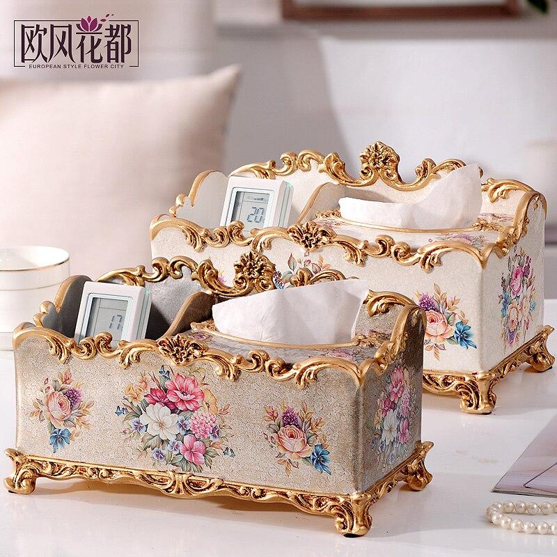 European style paper towel box, decorative multi-function remote control, desktop, home living room, retro carton