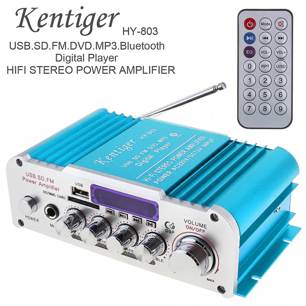 HY 803 2CH HI FI Bluetooth Car Audio Power Amplifier FM Radio Player Support SD / USB / DVD / MP3 Input for Car Motorcycle