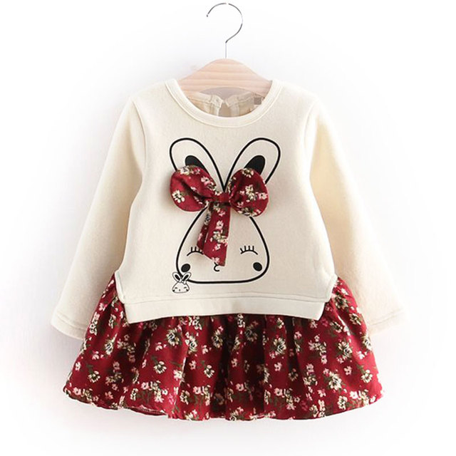 e03cd1bd41818 US $10.88 |2017 Winter Girls Long Sleeve Pullover Dress Printed Worm Thick  Baby Kids Princess Dresses for Girl Children's Wear Kids Bow Tie on ...