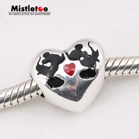 Authentic 925 Sterling Silver Mickey Minnie Heart Charm Black Red Enamel Bead Fit Pandora Bracelet Necklace