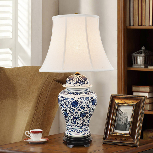 Jingdezhen chinese ceramic table lamp bvintage style chinese blue jingdezhen chinese ceramic table lamp bvintage style chinese blue and white porcelain ceramic desk table lamps aloadofball Choice Image
