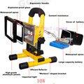 Лучшая цена 10 Вт перезаряжаемый светодиодный прожектор перезаряжаемый светодиодный аварийный светильник портативный прожектор на батаре...