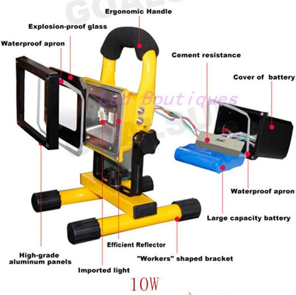 Best Price 10w Rechargeable Led Flood Lighting Emergency Lamp Portable Spotlight Battery Ed Spot