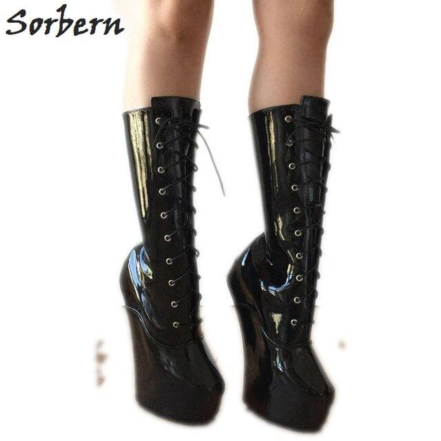 9c7fca5463 Aliexpress.com : Buy Sorbern Black Custom Wide Fit Heels Boots For Women  Heelless Hoof Shoes Unisex Black Heels Wedge Short Boots Women Big Size  from ...