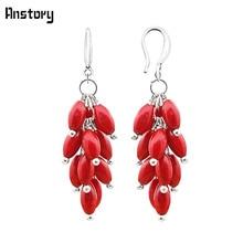 Кластера натуральный красный коралл Bead Hook Earrings для Для женщин личности Дизайн Модные украшения Античная Посеребренная TE251