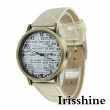 Irisshine i0803 lady Retro Newspaper Design Pattern Women Leather Watch Quartz WristWatch women watch gift