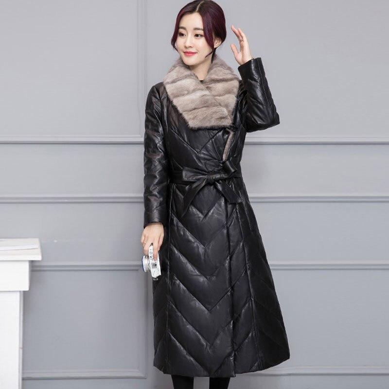 Luxe Peau Chaud La Red Cheveux Wine Plus 2018 black Hiver Hs607 Canard Manteaux Duvet Manteau Vestes Des Mouton Vison Fourrure De Blanc Taille Femmes Épais Veste En S7Y64qwRYC