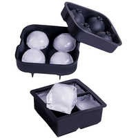 2Pcs 4 Cavity Square Ice Maker And Round Shape Ice Cube Mold Maker Bar Party Silicone