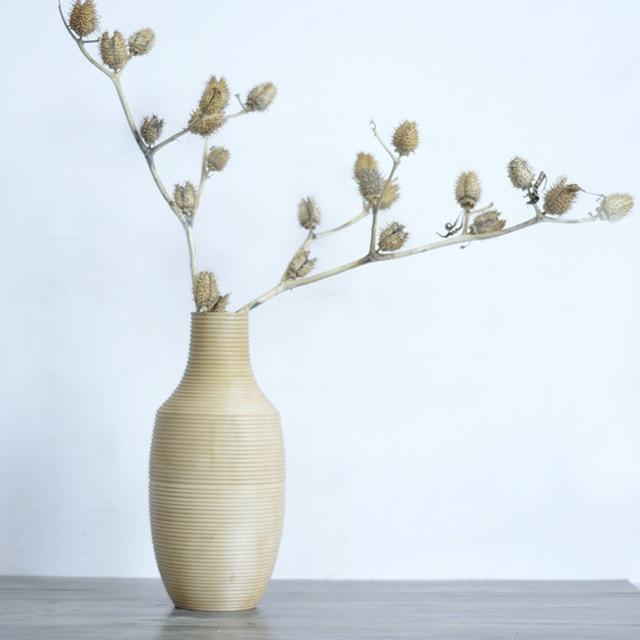 Thai Imports Handmade Carved Mango Wood Solid Wood Vase Flower