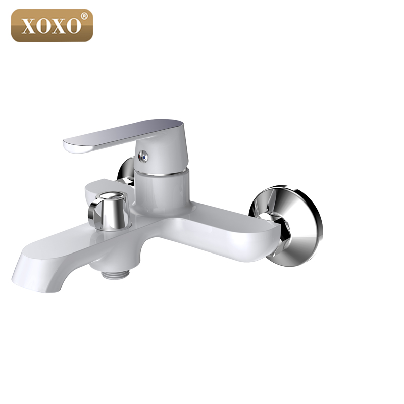 XOXO White Bathroom Shower Brass Chrome Wall Mounted Shower Faucet ...