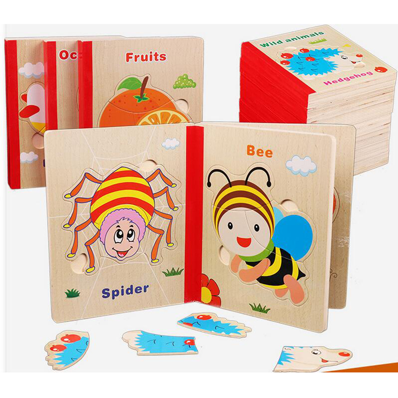 Learning Education Wooden Infant Puzzle Early Learning Wood Book Color Cognition Kids Toys MT77