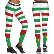 9333c725fc274 Cute Santa Elf Cosplay Yoga Tights Female Skinny Sports Trousers Father  Christmas Pants Green Red Stripes