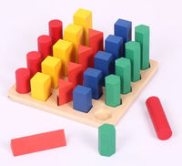 Candice guo wooden toy wood block Montessori pillar ladder column sequence geometric blocks shape match game baby birthday gift