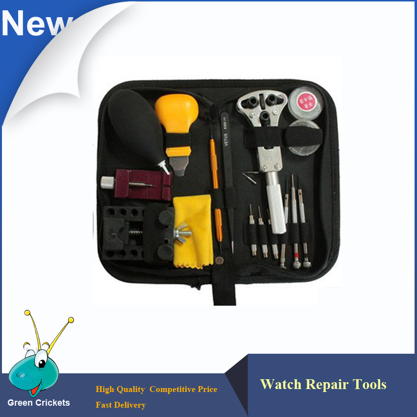 12pcs/Set Watch Repair Tools Kits With Nylon Bag,Case Opener Link Spring Bar Remover Tweezer dust blower,Free Shipping