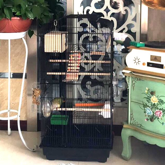 Foldable Metal Parrot Villa Bird Cage Thrush Starling Parrot Cage Three-story Heightened Bird Building Upgraded Version 46*36*93 2