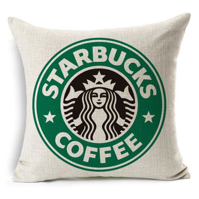 High Quality Fashion Style Starbucks Coffee Cushion Home Decorative Cojines Sofa Throw Pillow Cotton Linen Square Almofadas