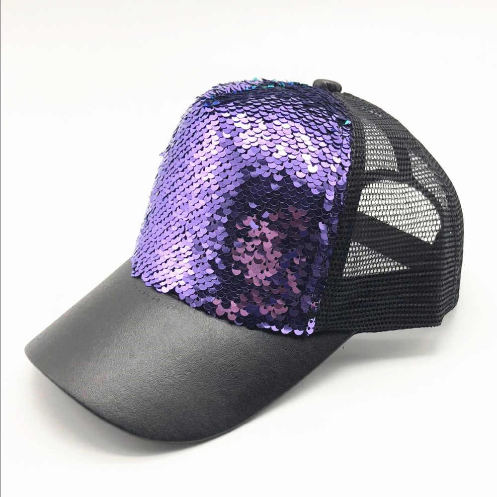 6075b5d9 ... New Fashion Baseball Cap Women's Adjustable Cap Casual Hat Reflective  Sequins Fashion Snapback Summer Sun Hats ...