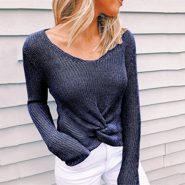 Sleeve Solid Color V-neck Sweater 3