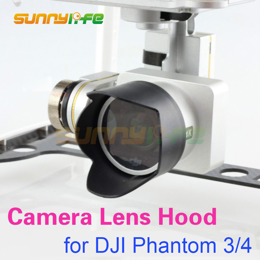 Camera Lens Hood Sunshade Antiglare Sunhood untuk DJI Phantom 4 Phantom 3 Black 1pc
