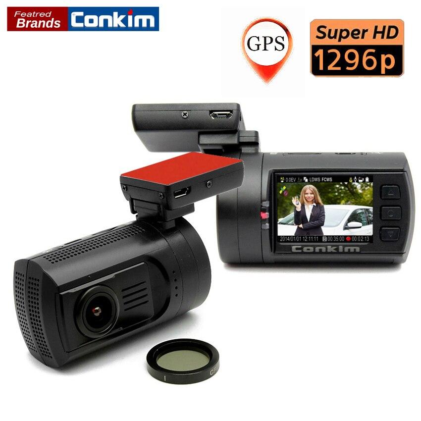 Conkim Auto Camera Super HD 2304 1296P Ambarella A7 GPS G sensor Support Dual TF Card