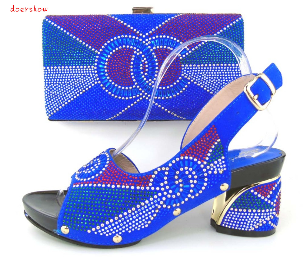 2016 Charming Italian Shoes With Matching Bags Rhinestones High Quality African Shoes And Bags Set for Wedding doershow!HLQ1-12 italian shoes with matching bags set for