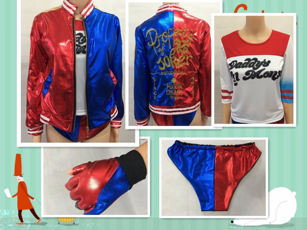 2016 NEW Suicide Squad movie Harley Quinn female clown cosplay costume girl clothing halloween anime coat jacket t-shirt wig