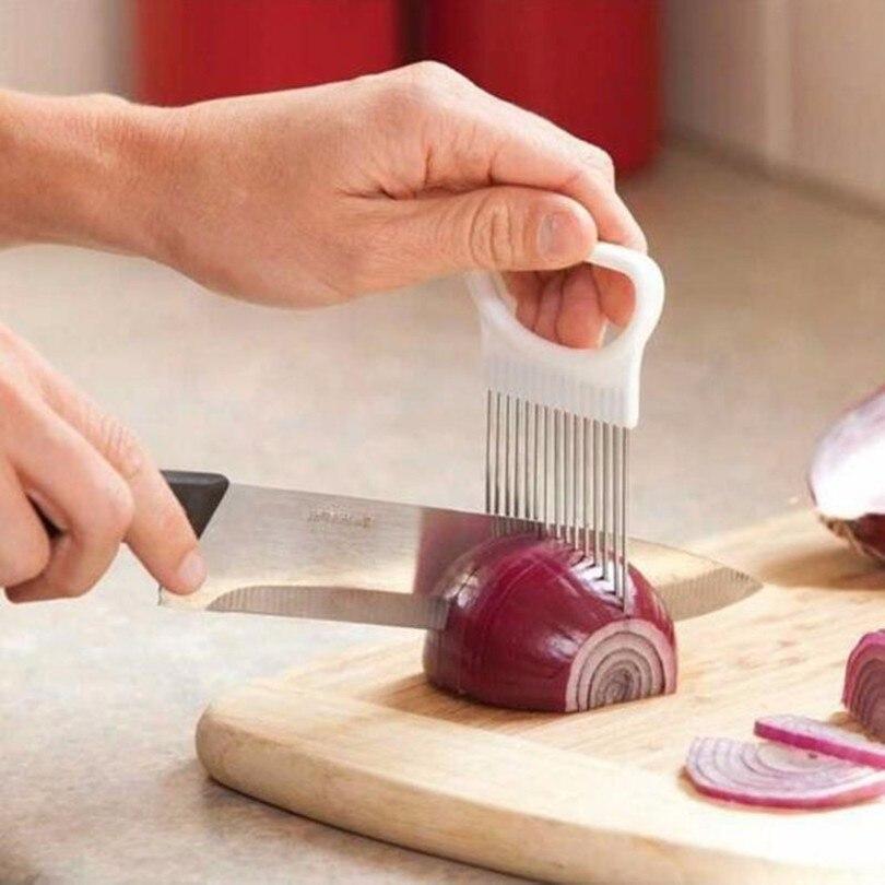 Удобный кухонный инструмент для готовки, приспособление для нарезки лука, томатов, овощей, направляющий держатель, приспособление для наре...
