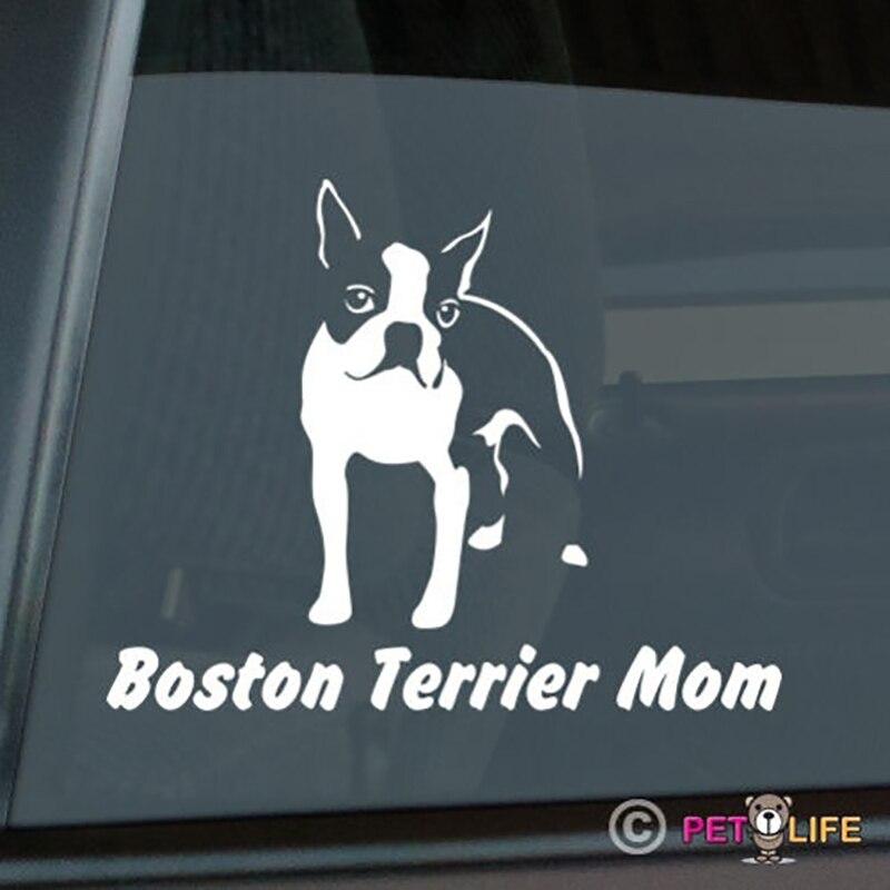 Animal Stickers Cute Dog Sticker Boston Terrier Mom Sticker Die Cut Vinyl Window Decal 15x12cm