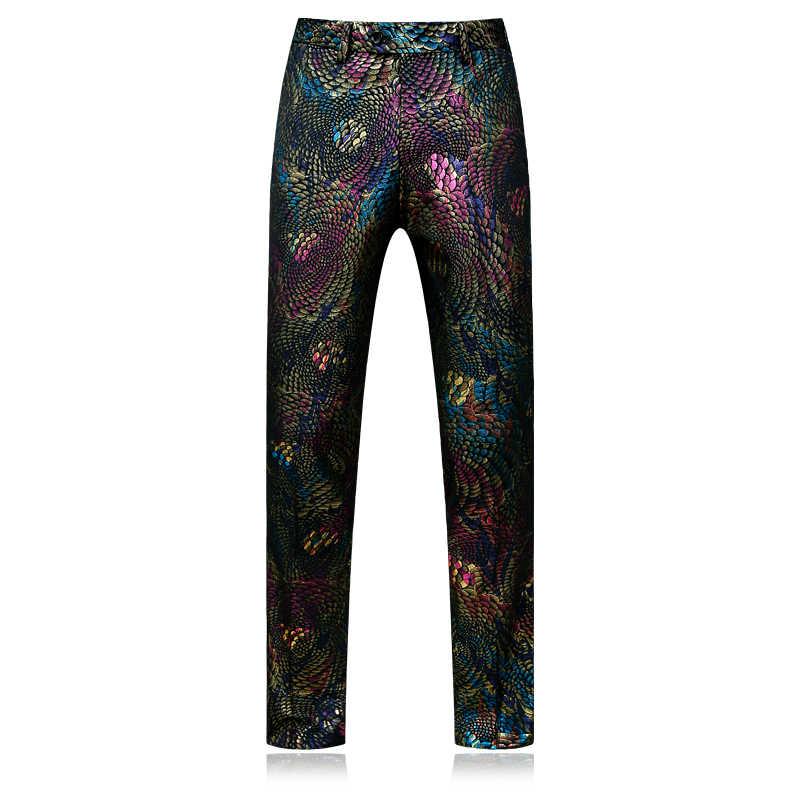 Plyesxale ブランド 2018 スーツ男性スリムフィットメンズペイズリースーツ最新コートパンツのデザインカラフルなステージの摩耗結婚式のウエディングスーツ q260