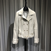 219 кожаная куртка для нового овчины Локомотив пальто
