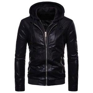 """Image 1 - רוכסן כפול עיצוב חורף סלעית עור בגדי מעיל גברים של מותג אופנה חדש עור jacket Slim fit האיחוד האירופי/ ארה""""ב גדול גודל"""