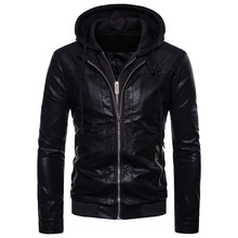 Double zipper design winter hooded leather clothes jacket Mens fashion brand man new Slim fit EU/US Large size