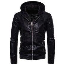 Dubbele rits ontwerp winter hooded lederen kleding jas heren mode merk man nieuwe leren jas Slim fit EU/ ONS Grote maat