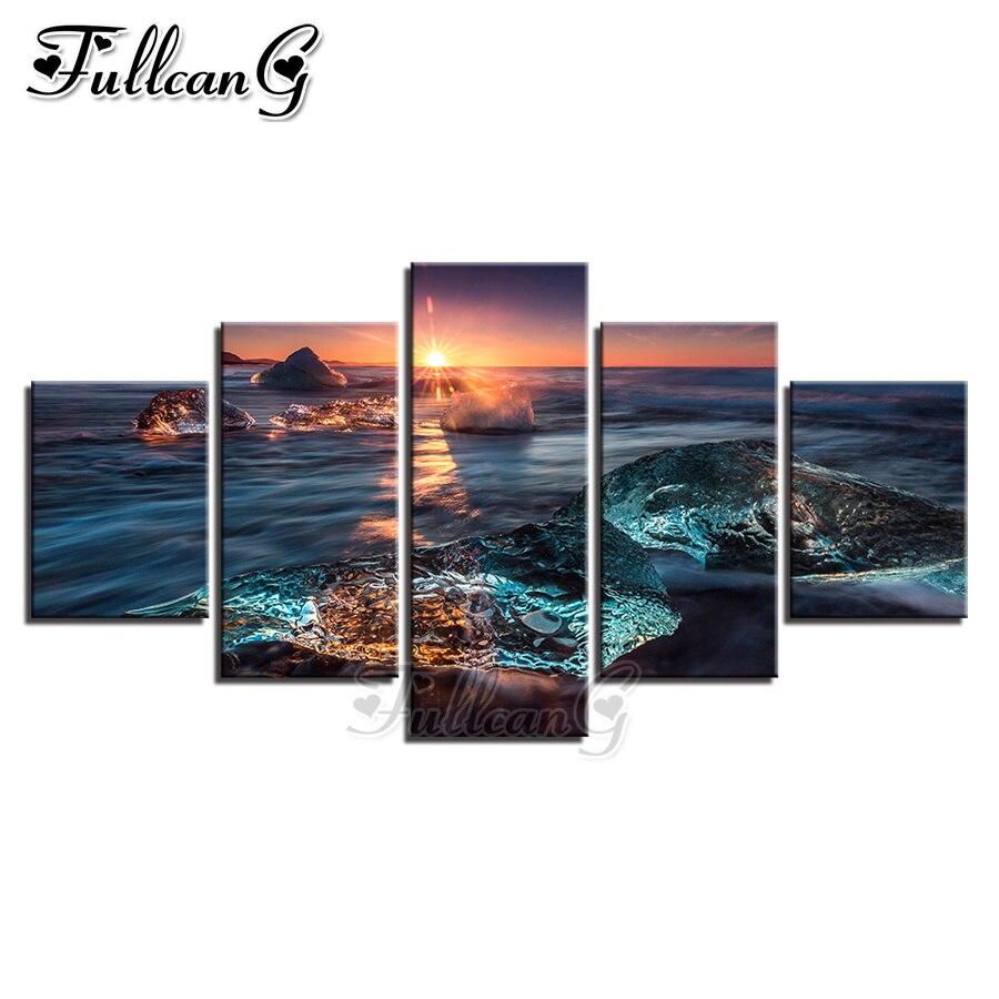 FULLCANG 5d bricolage complet carré/rond perceuse diamant peinture coucher de soleil paysage marin naturel 5 panneau mazayka broderie mur décor FC1184