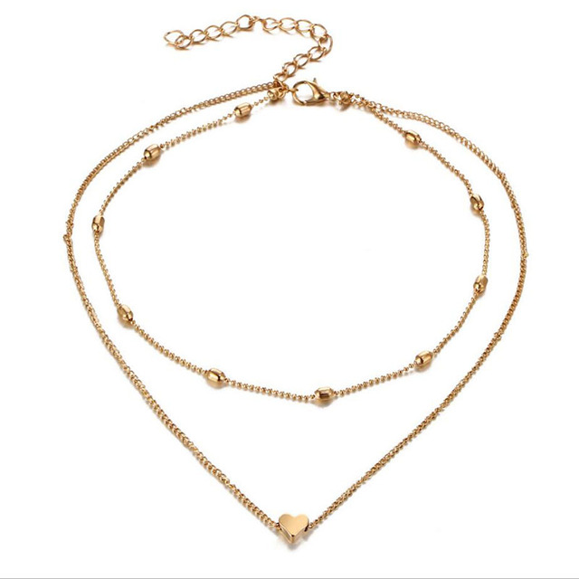 Best Tri Color Gold Heart Necklace Cheap Necklace For Grandma