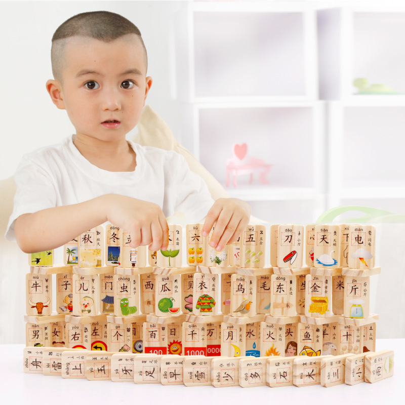 MWZ 100pcs Wooden Domino Blocks Learning Chinese Characters for Kids Intelligence Building and Stacking Blocks Education Toy