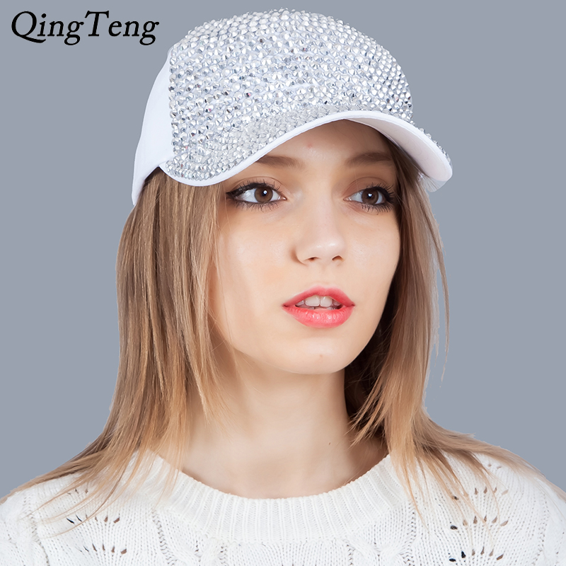 White Fashion Women'S Rhinestone Hats Luxury Female Baseball Cap Bling Diamond Cap Swag Casquette Girl Snap Back Gorras