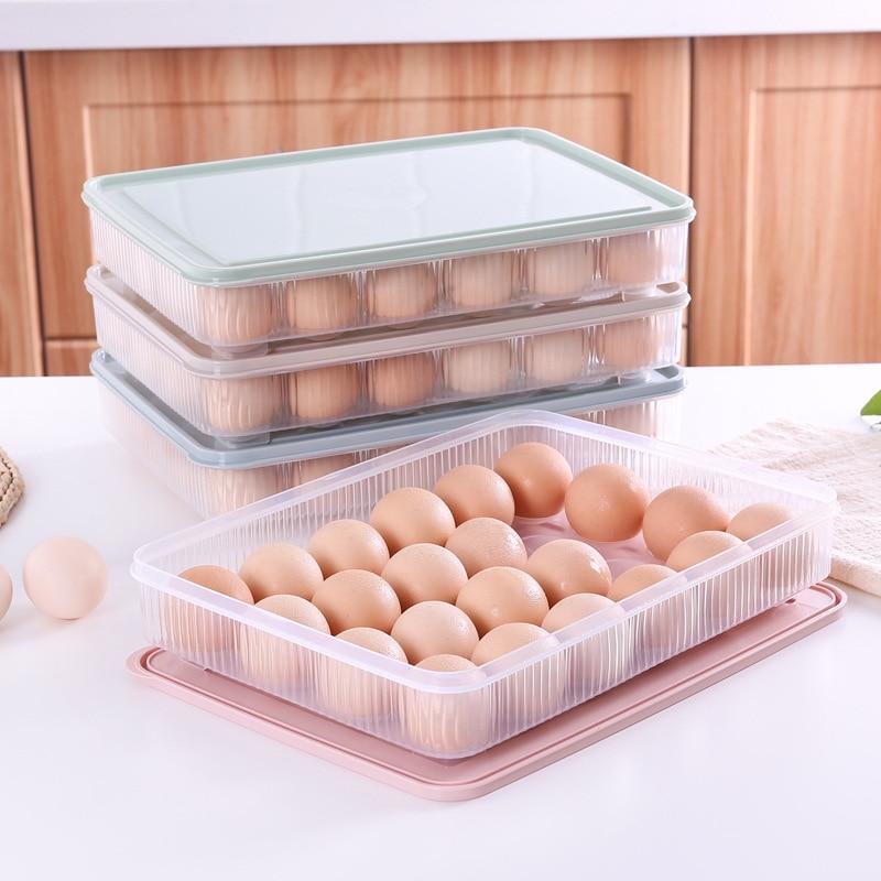 24 Grid Stackable Egg Box Kitchen Storage Box Refrigerator ...