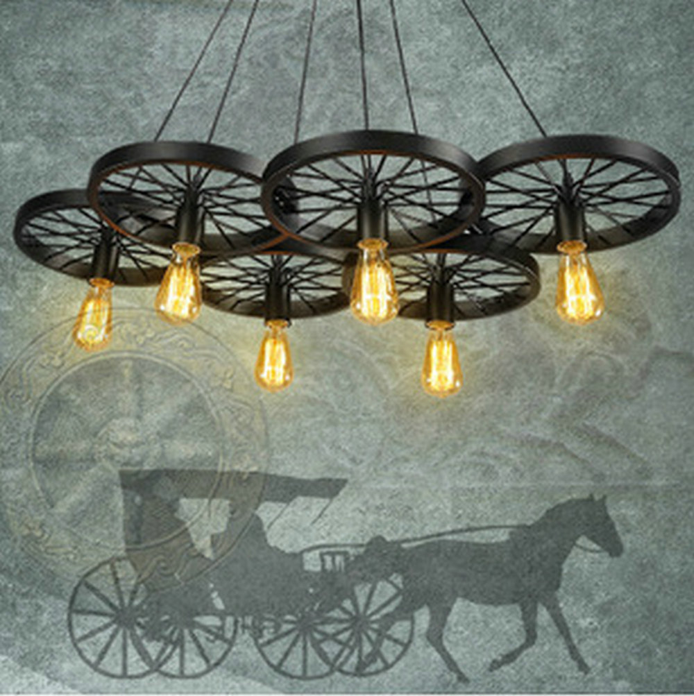 Vintage Loft Personality Wrought Iron Wheel Pendant Light Industrial Retro Edison Bulb Decorative Pendant Lamp Fixture LightingsVintage Loft Personality Wrought Iron Wheel Pendant Light Industrial Retro Edison Bulb Decorative Pendant Lamp Fixture Lightings